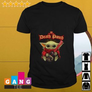 Baby Yoda hugging Five Finger Death Punch shirt