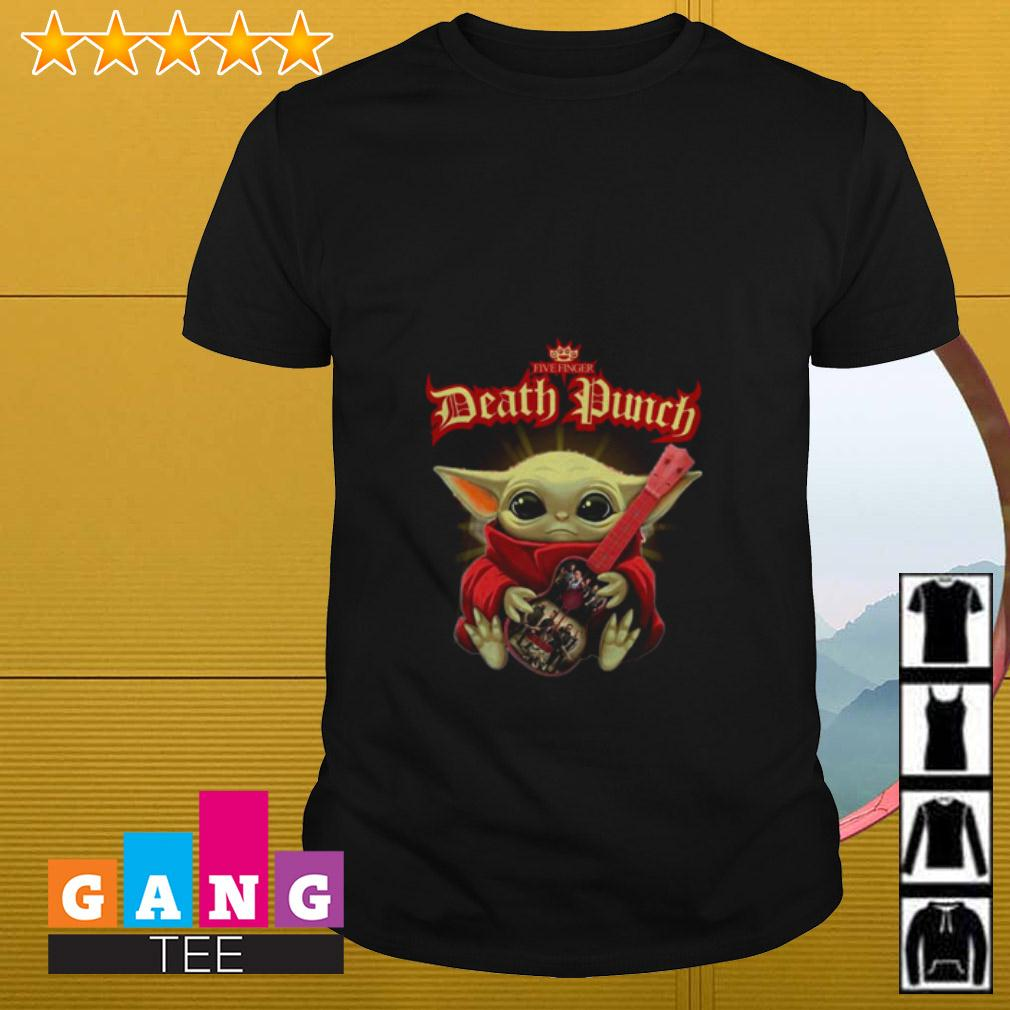 Baby Yoda hugging Five Finger Death Punch shirt