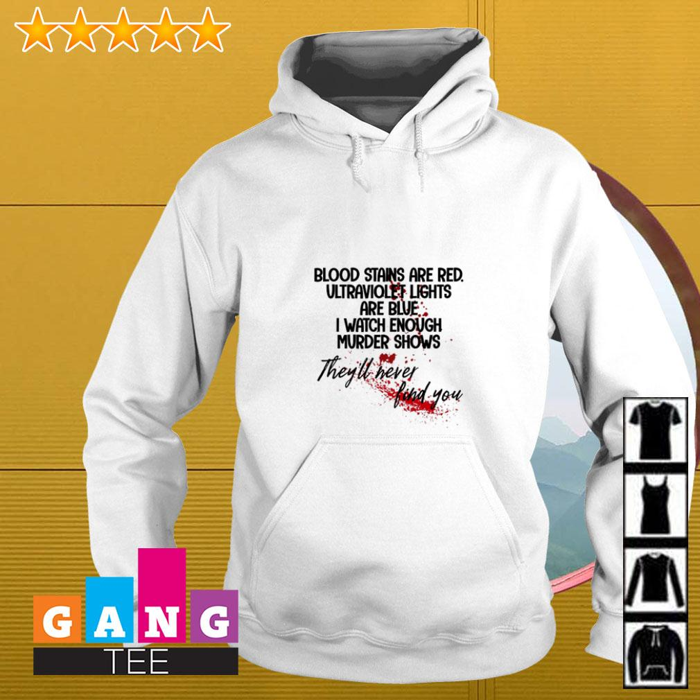 Bloodstains are red ultraviolet lights are blue I watch enough murder shows Hoodie