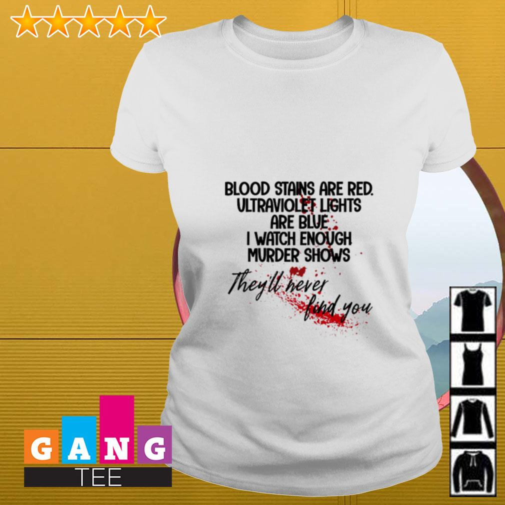 Bloodstains are red ultraviolet lights are blue I watch enough murder shows Ladies tee