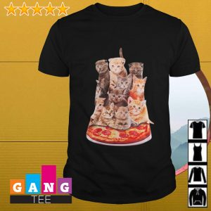 Cats sitting on pizza shirt
