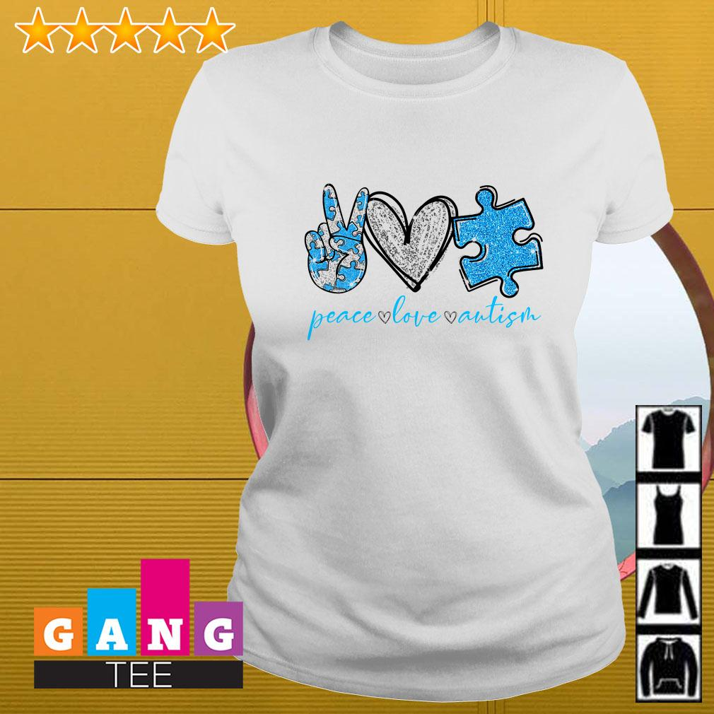 Peace Love Autism Awareness Ladies tee