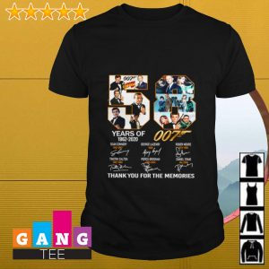 58 years of 007 1962 2020 signature thank you for the memories shirt