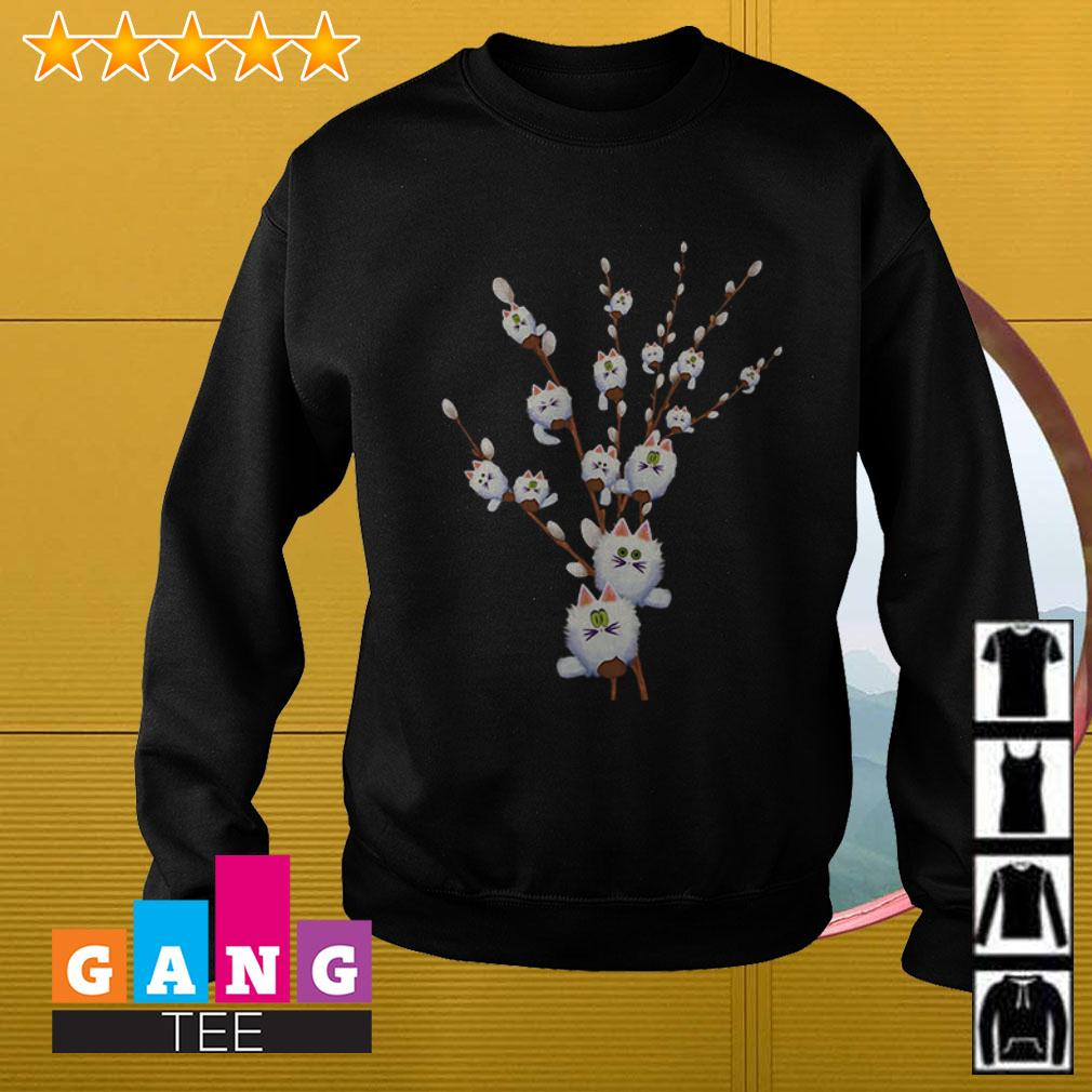Cat white willows flower cute Sweater