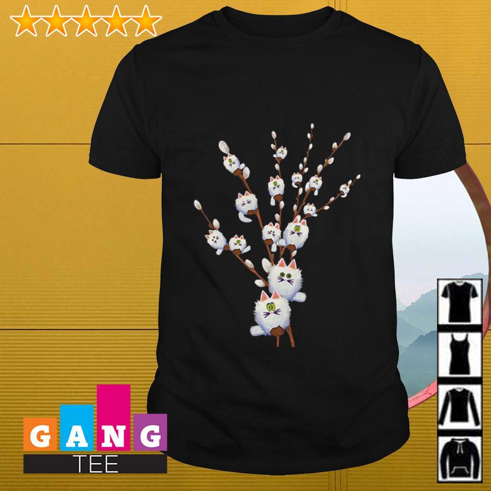 Cat white willows flower cute shirt