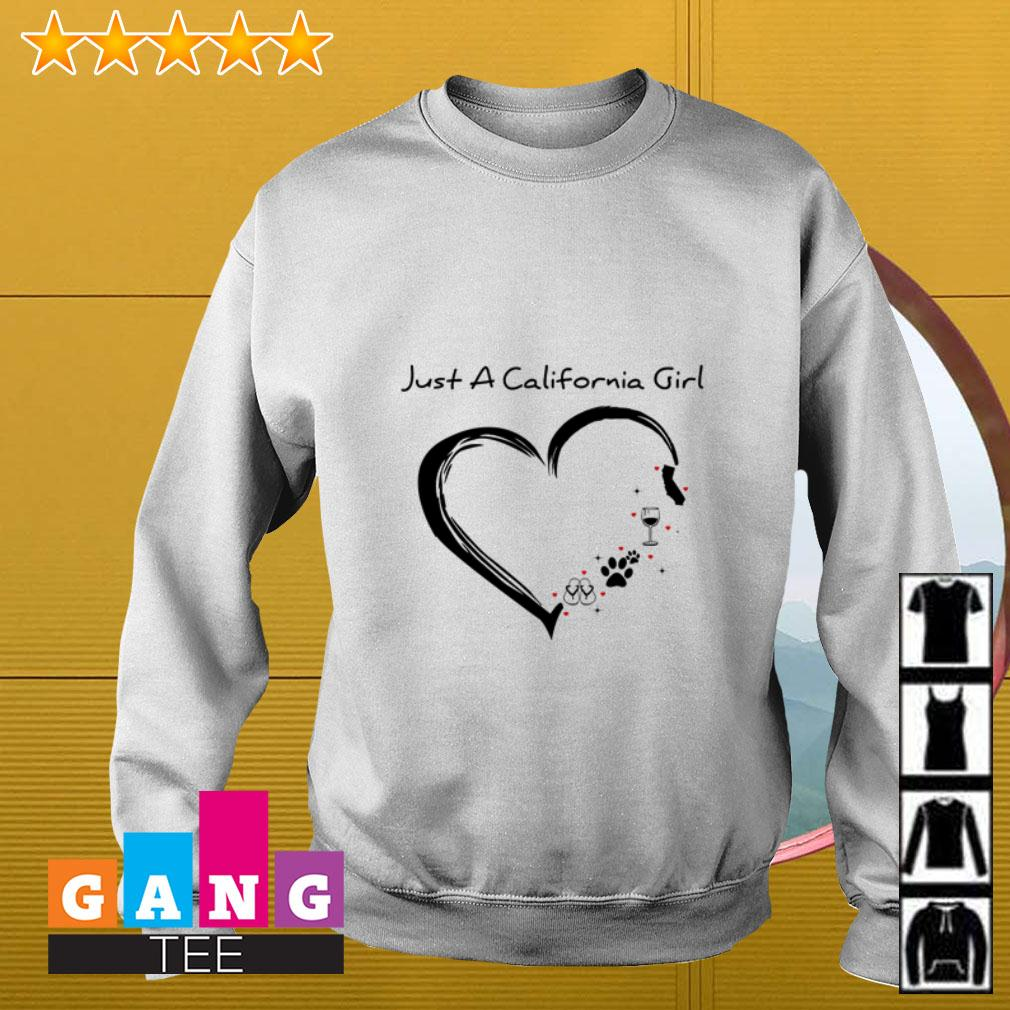 Just a California girl love flip flop dog wine and cat Sweater