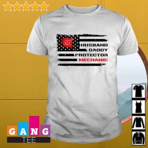 American flag husband daddy protector mechanic shirt