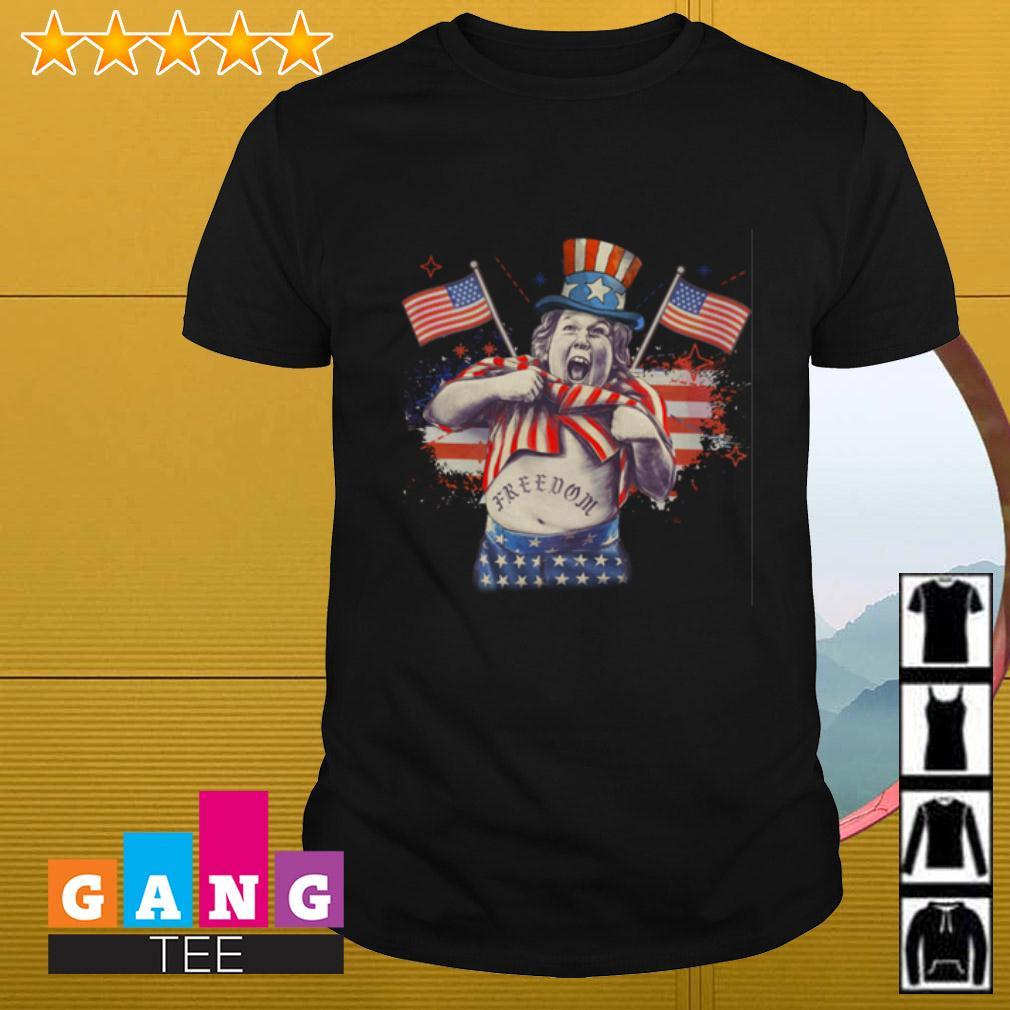 Chunk from The Goonies Falcor America Flag Freedom shirt