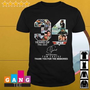 34 years of Top Gun 1986 2020 Tom Cruise thank you for the memories shirt