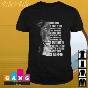 Before I met you I wanted you the moment I saw you I loved you an hour after knowing you I would protect you with my life I am your Staffie shirt