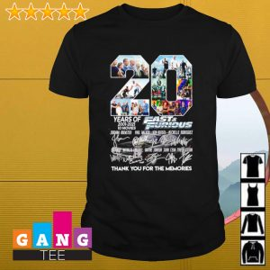 20 years of 2001-2021 Fast and furious signature thank you for the memories shirt