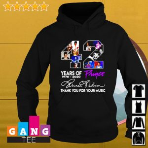 42 years of Prince 1978-2020 signature thank you for your music s Hoodie