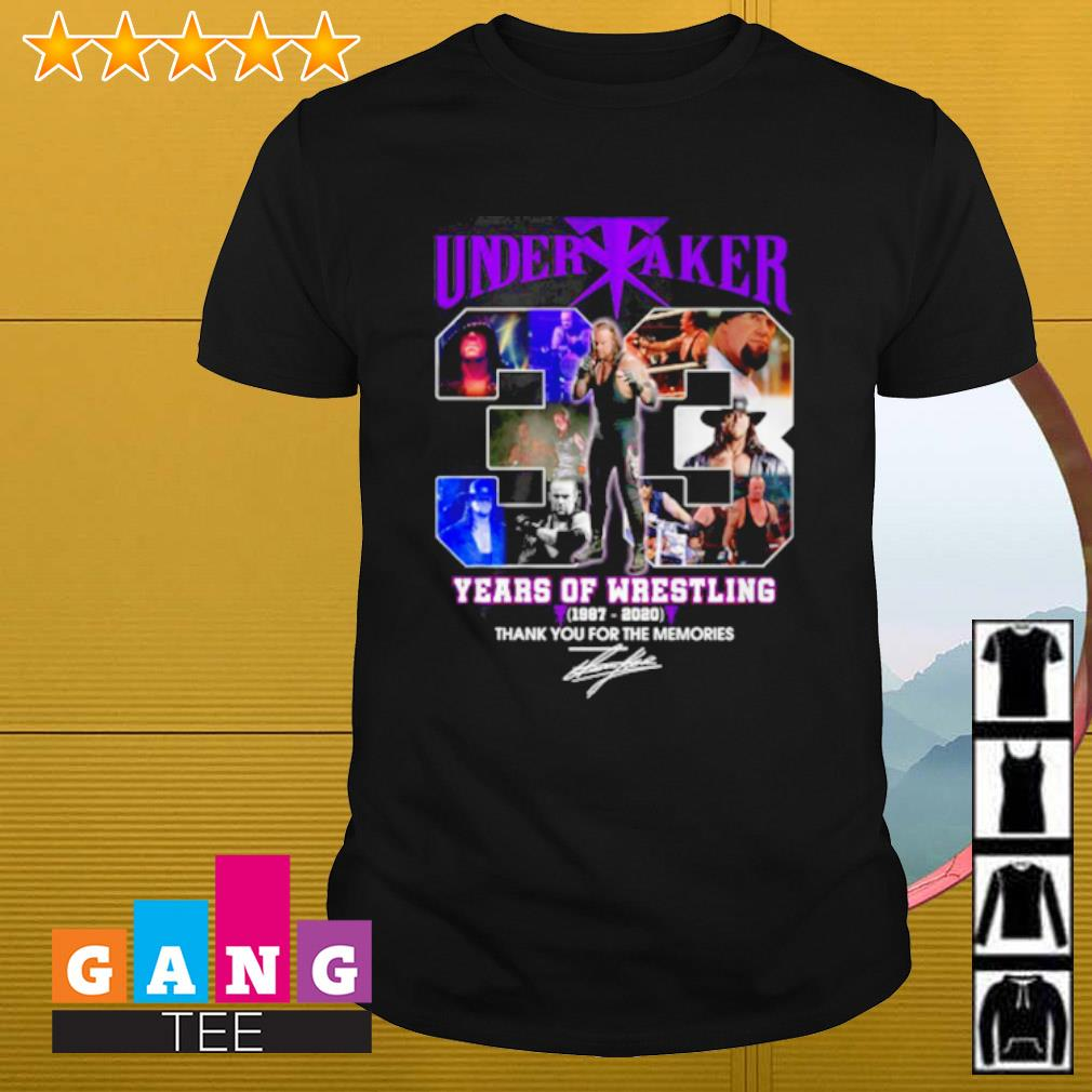 Undertaker 33 years of wrestling 1987-2020 thank you for the memories signature shirt