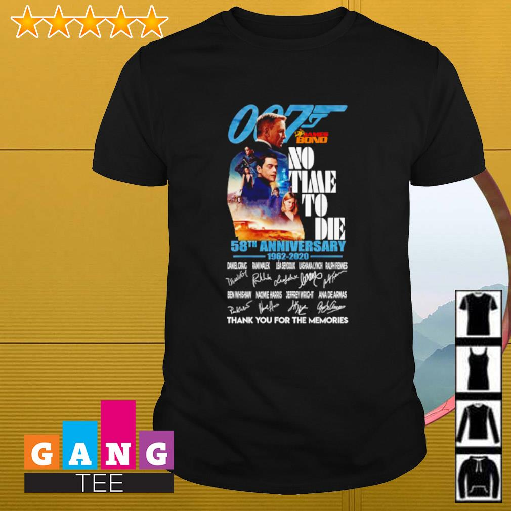 007 James Bond No time to die 58th anniversary 1962 2020 signatures thank you for the memories shirt