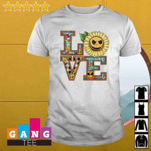 Face Jack Skellington Love Halloween sunflower shirt