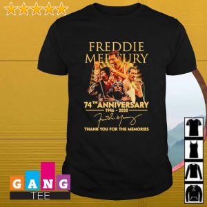 Freddie Mercury 74th anniversary 1946 2020 signatures thank you for the memories shirt