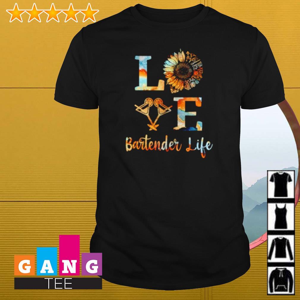 Love Bartender life sunflower shirt