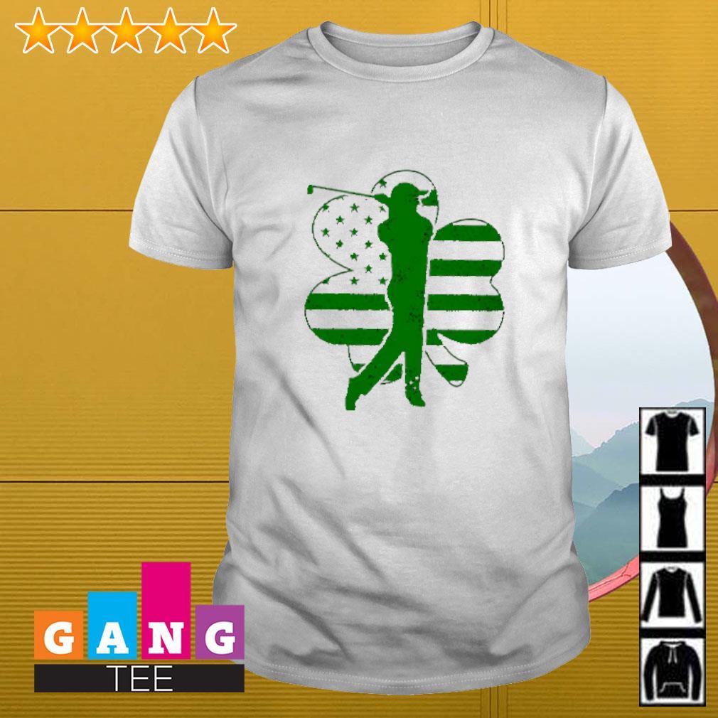 American USA flag shamrock golf shirt