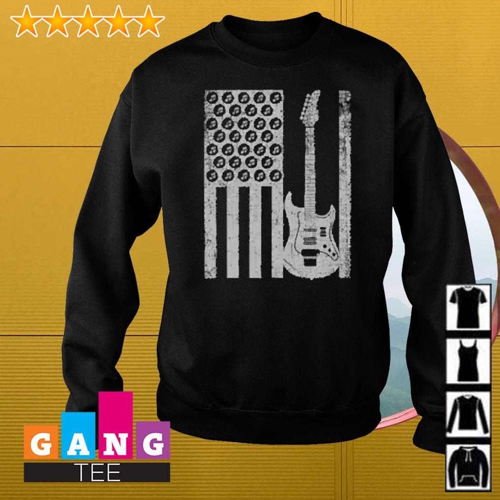 Electric bass guitar player american flag Sweater