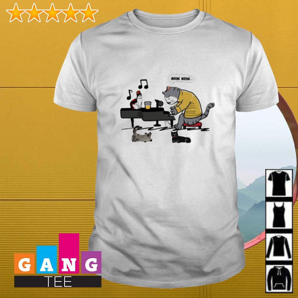 Meow Meow cat play piano shirt