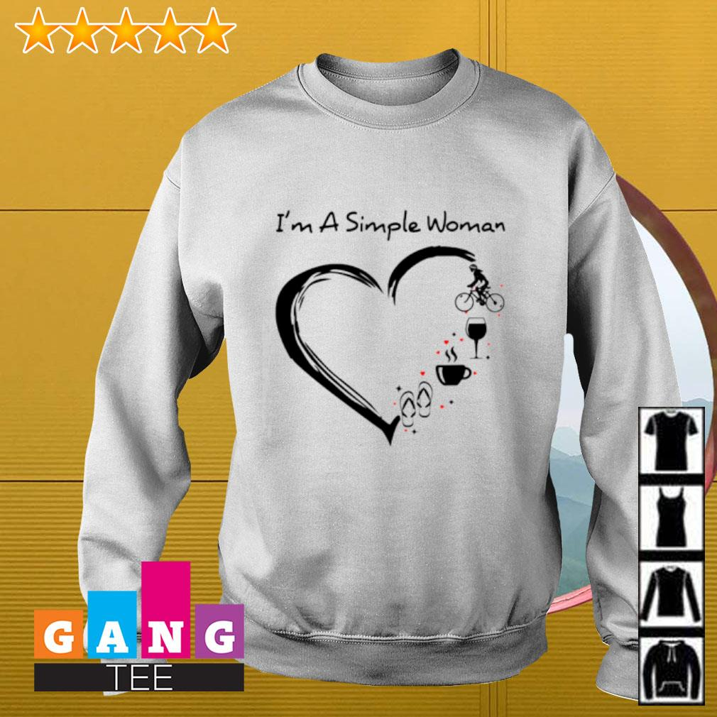 I'm a simple woman flip flop coffee wine cycling Sweater