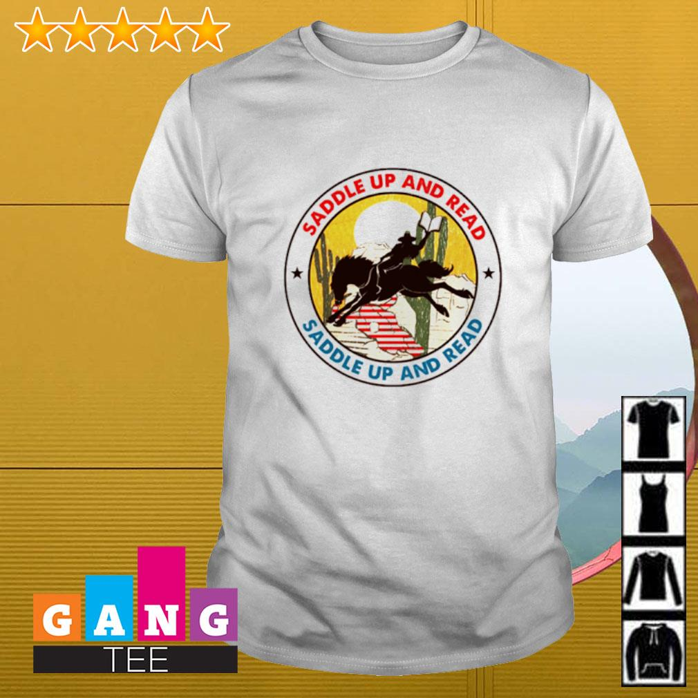 Saddle up and read riding horse shirt